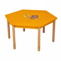 Height Adjustable Beechwood Hexagon Table Orange